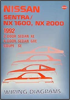 1992 nissan sentra & nx 1600/2000 wiring diagram manual original paperback  – 1992