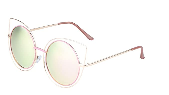 Amazon.com: Round Cat Eye Wireframe Sunglasses Flat Color Mirror ...