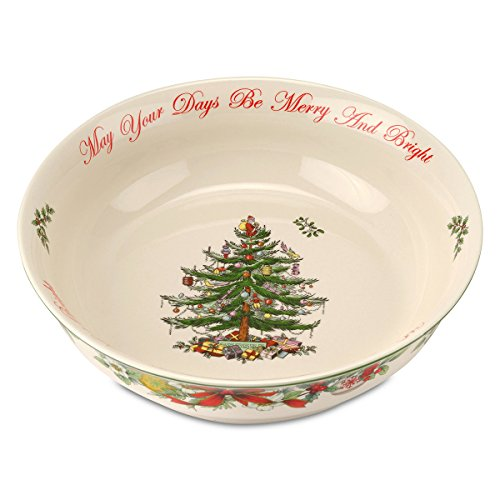 Spode Christmas Tree Annual Edition 10-in 'May Your Days Be Merry and Bright' Serving Bowl; White & Green