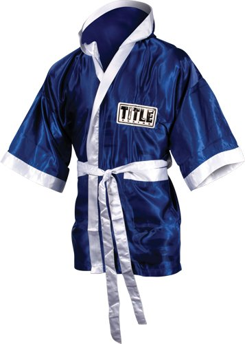 Stock Satin Robe - TITLE Boxing 3/4 Length Stock Satin Robe, Royal/White, Small