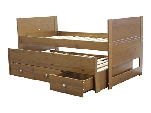 Bedz king captains bed with trundle and 3 drawers twin expresso furniture beds accessories - Solid wood trundle bed with drawers ...