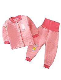 2Pcs Infant Toddler Baby Pajamas Set Thermal Underwear Cotton Long Sleeve Sleepwear Long Johns