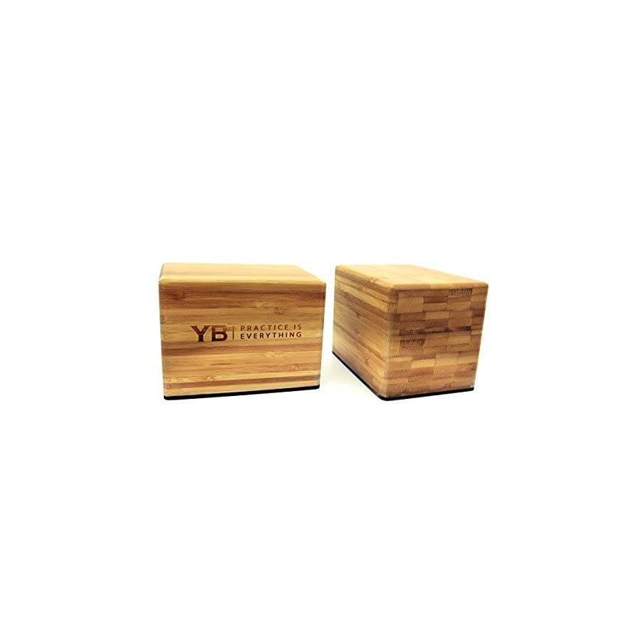 YOGABODY Bamboo Handstand Blocks with Non Slip Rubber Bottoms, Yoga, Movement and Gymnastics Training with PDF Pose Chart