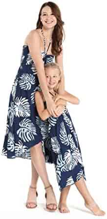 5a4998abbcb3 Matching Hawaiian Luau Mother Daughter Butterfly Dress in Hibiscus Black
