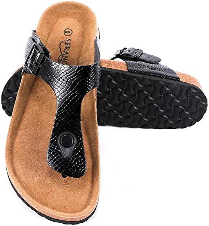 7e807b0c62 Amazon.com   Seranoma Women's Thong Cork Sandal   Open Toe Slide ...
