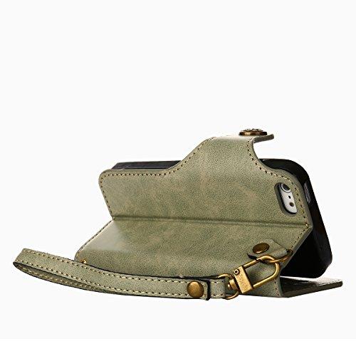 MEIRISHUN Leather Wallet Case Cover Carcasa Funda con Ranura de Tarjeta Cierre Magnético y función de soporte para Apple iPhone 5/ 5S/ SE - Rosado Verde claro