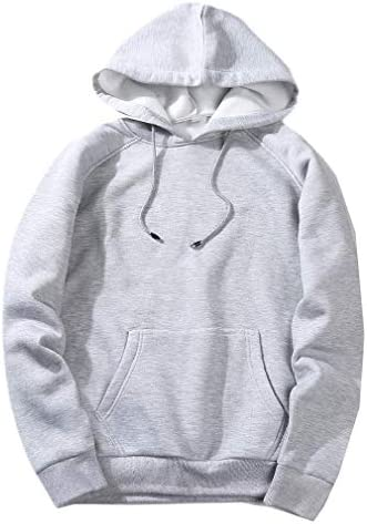 Men's Pocket Hoodie Solid Color Athletic Fit Casual Outwear Sweatshirts