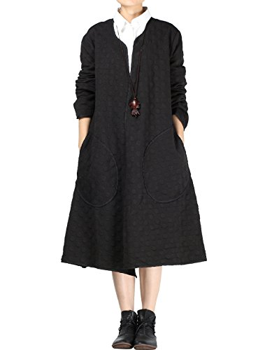 Mordenmiss Women's Long Sleeve Trench Coat with Pockets (Style 2-Black)