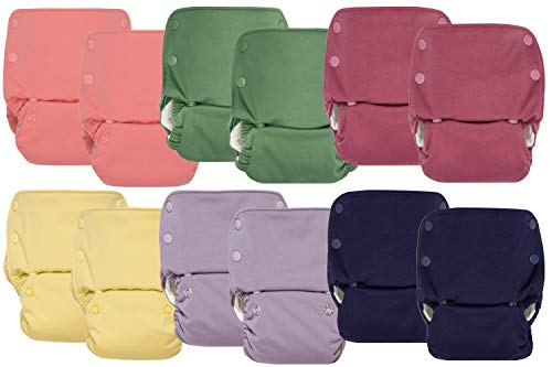 GroVia Reusable All in One Snap Baby Cloth Diaper (AIO) - 12 Pack (Color Mix 4)