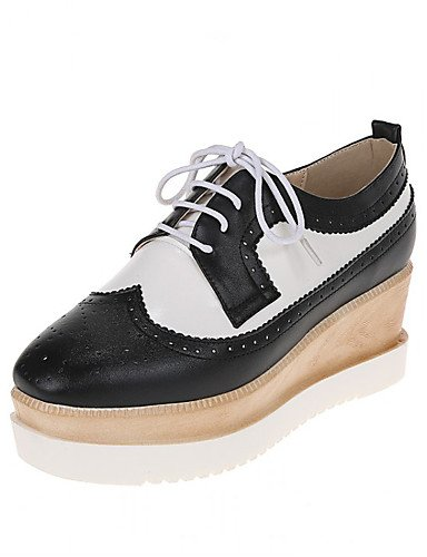 ZQ Zapatos de mujer - Plataforma - Plataforma / Punta Redonda - Oxfords - Vestido - Semicuero - Negro / Rojo , 2in-2 3/4in-red 2in-2 3/4in-red