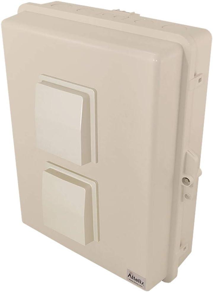 "Altelix Light Ivory Vented NEMA Enclosure 17x14x6 (14"" x 9"" x 4.2"" Inside Space) Polycarbonate + ABS Tamper Resistant Weatherproof Rainproof"