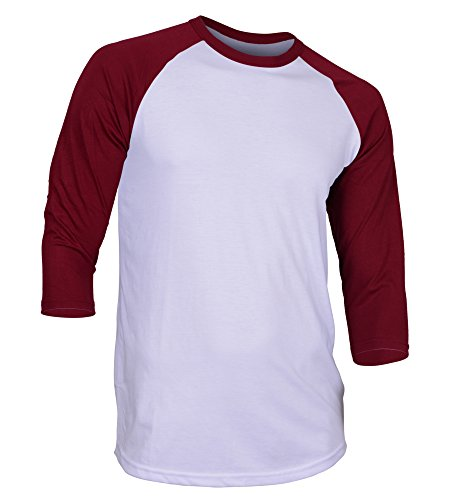 Dream USA Men's Casual 3/4 Sleeve Baseball Tshirt Raglan Jersey Shirt White/Burg Small