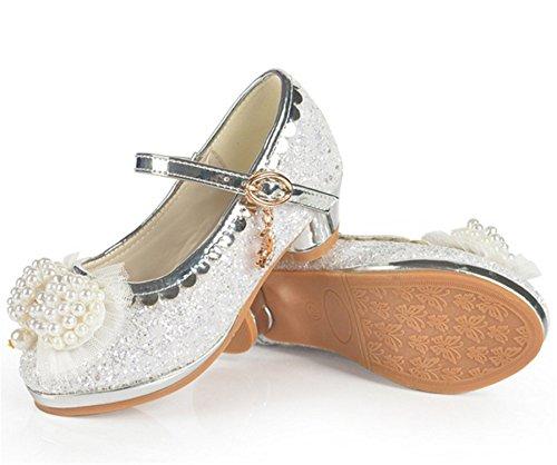 YOGLY Zapatos de Tacón de Niña Zapatilla de Baile Princesa Brillar Perla Diseño Blanco