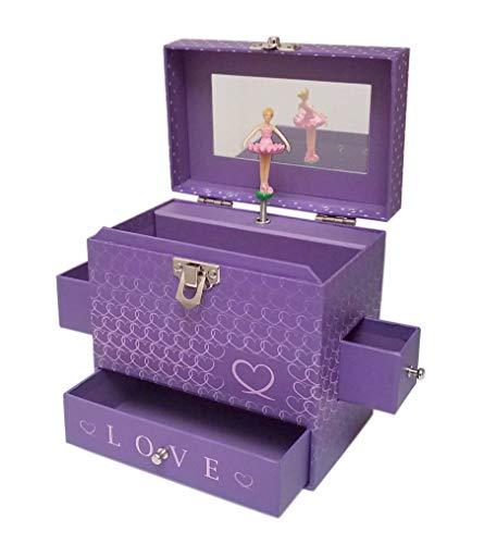 - My Tiny Treasures Box Co. Love Ballerina Music Jewelry Box - Purple Three Drawers with Hearts Pink Trim and Mirror