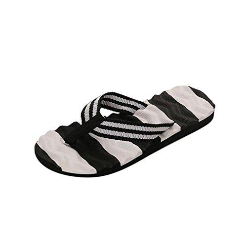 Amcool Damen Sommer Hausschuhe Slipper Flip-Flops Strandschuhe Sandalen Schwarz