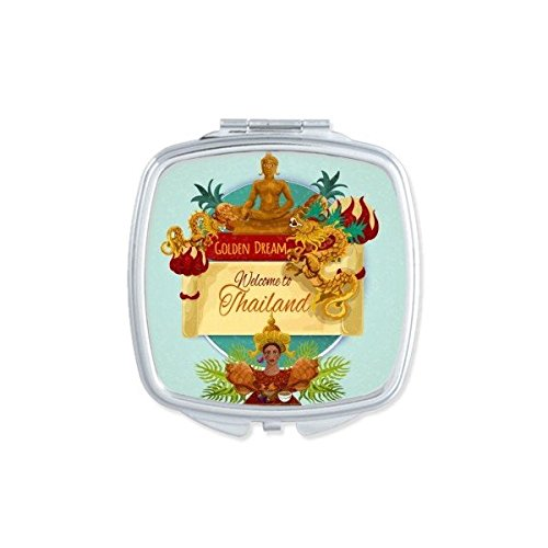 Kingdom of Thailand Thai Traditional Customs Watercolor Temple Dragon Buddha Art Illustration Square Compact Makeup Pocket Mirror Portable Cute Small Hand Mirrors by DIYthinker