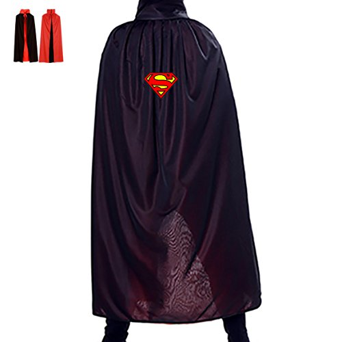 Superman Hero Logo Adult Youth Cloak Cosplay Wizard Cape Witch Outerwear Boo (Black Superman Cosplay)