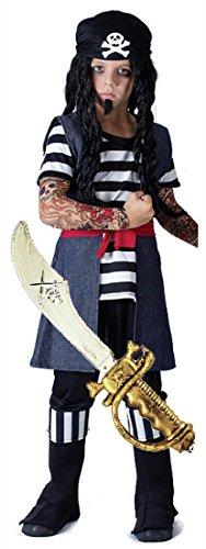 Tattoo Pirate Boy Fancy Dress Costume with Sword Age 4 - 12 (10-12 years) (Fancy Dress Swords)