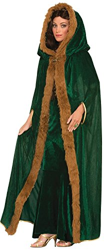 Mens Ladies Green Long Velvet Fur Trimmed Hooded Medieval Fancy Dress Costume Outfit Cape Shawl Cloak (Green)