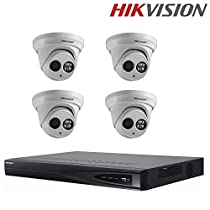 Hikvision DS-7608NI-E2/8P Embedded Plug & Play NVR 8 POE 2 SATA Security Netword Video Recorder + Hikvision DS-2CD2342WD-I 4MP WDR EXIR Turret Network Camera + Seagate 2TB HDD (8 Channel + 4 Camera)