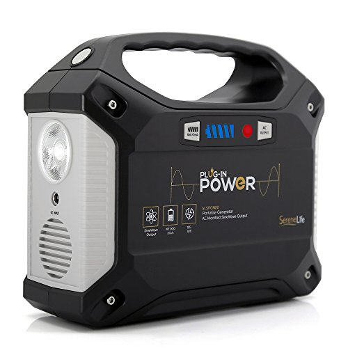 SereneLife Portable Generator, 155Wh Power Station, Quiet Gas Free Power Inverter, CPAP Battery Pack, Charged by Solar Panel/Wall Outlet/Car with 110V AC Outlet,3 DC 12V,3 USB Port ()