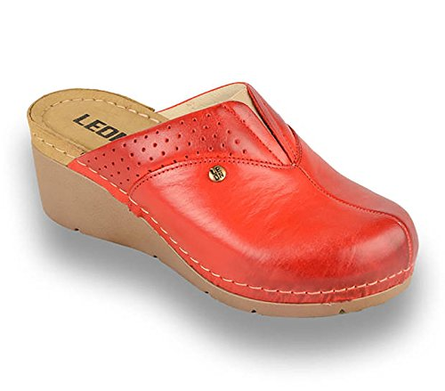 Chaussures Slip Dames 1002 Pantoufles Sabots on Leon Cuir Rouges Mule Travestissement pZqxwzWRF