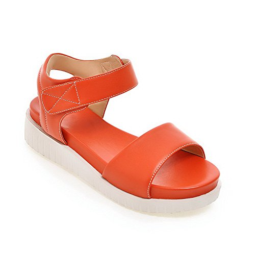 Allhqfashion Mujer Soft Material Hook-and-loop Open Toe Kitten-heels Solid Sandalias Naranja