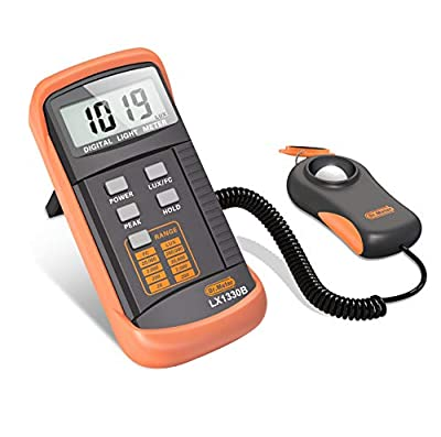 Dr.Meter LX1330B Digital Illuminance/Light Meter, 0 - 200,000 Lux Luxmeter