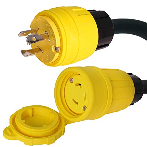 Weatherproof L5-30 Generator Extension Power Cord - 200 Foot, 30A, 125V, 8/3 SOOW Cable - Iron Box # IBX-5801WTPNS-200 - UL Listed - Made in USA (200 ft, Watertight Pass & Seymour)