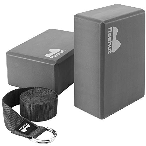 REEHUT Yoga Block (2 PC) and Metal D Ring Yoga Strap(1 PC) Combo Set, 9 x 6 x 4High Density EVA Foam Block to Support and Deepen Poses, 8FT Yoga Belt for Stretching, General Fitness(Gray)
