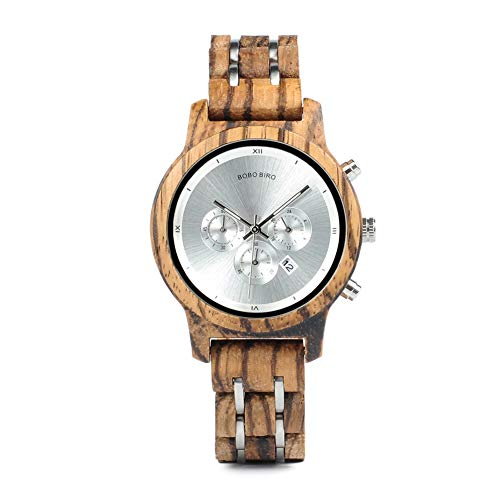 Wooden Watches Womens Luxury Wood Metal Strap Combined Chronograph & Date Display Quartz Causal Watches Versatile Ladies Female Timepiece Perfect Gift Watches