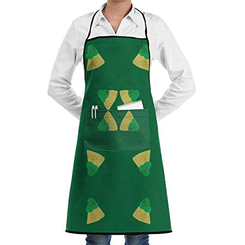 Guacamole! Chips Fabric 8538 Adjustable Bib Apron with Pockets - Commercial Restaurant and Home Kitchen Apron - Neck Strap- Extra Long Ties - Strong Black -