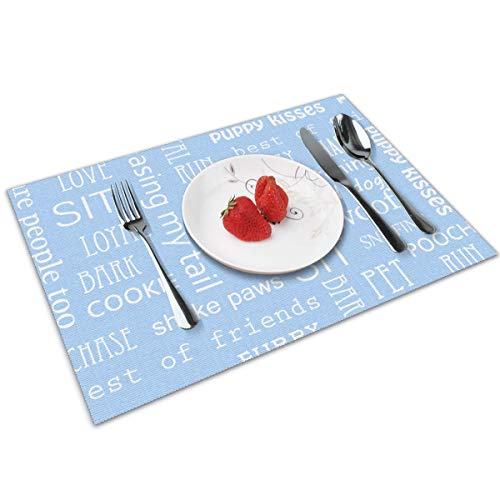 Candy Ran Letter Wallpaper Indoor/Outdoor Placemats/Place Mats/Table Mats Set of 4, Kitchen Tablemats for Dining Table, Non-Slip Washable Heat Resistant ()