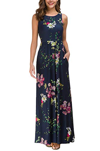 Zattcas Maxi Dresses for Women,Womens Crew Neck Sleeveless Summer Floral Maxi Dress with Pockets (X-Large, Navy) ()