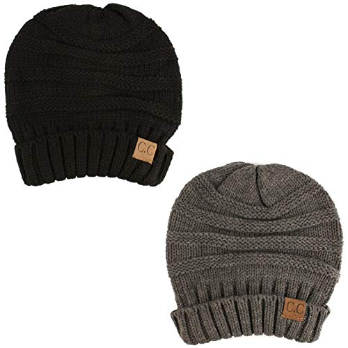 Winter Trendy Warm Oversized Chunky Baggy Stretchy Slouchy Skully Beanie Hat Black/Gray 2 Pack Combo -