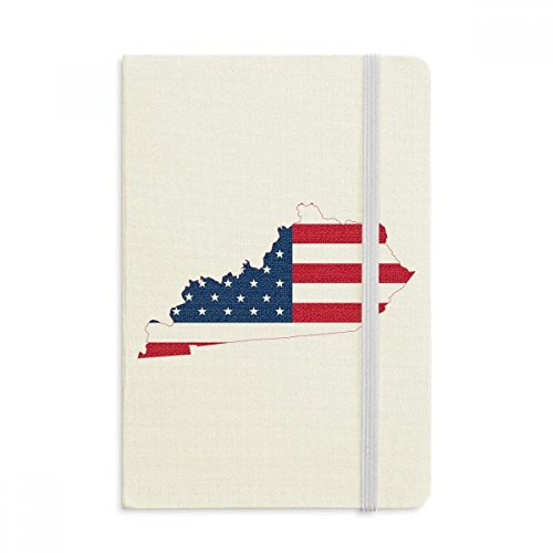 Kentucky USA Map Stars Stripes Flag Shape Notebook Fabric Hard Cover Classic Journal Diary A5