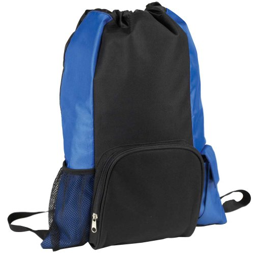 Drawstring Tote and Backpack Sack in One in Black and Royal