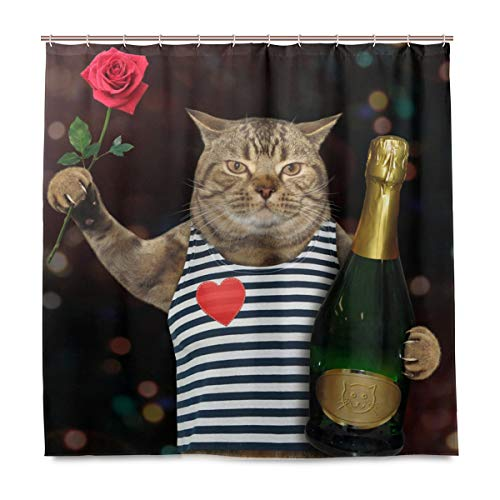 MIGAGA Decoration Shower Curtain Shower Cat Holds Bottle Sparkling Wine Red Bath Curtains Waterproof Fabric Bathroom Decor Set with Hooks 72X72inch