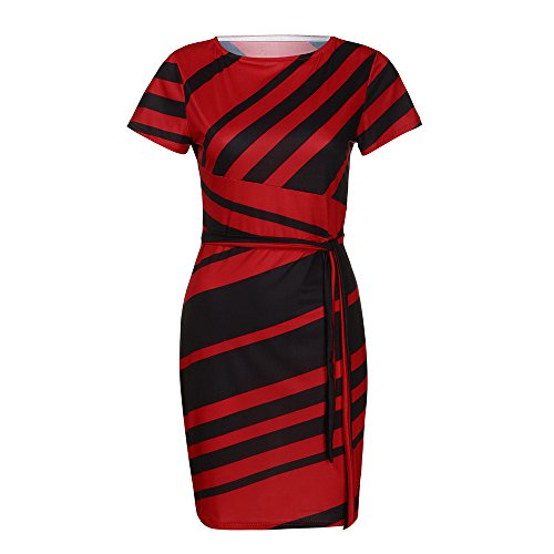 HIRIRI Women O-Neck Side Knot Hobble Strapless Dress Striped Short Sleeve Belted Sexy Slim Pencil Skirt Red