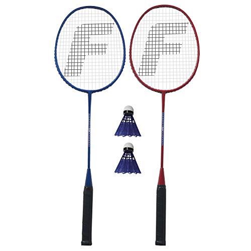 Franklin Sports 2 Player Badminton Replacement Set - 2 Badminton Racquets and 2 Shuttlecocks - Adults and Kids Backyard Game - Red, Blue, Stars