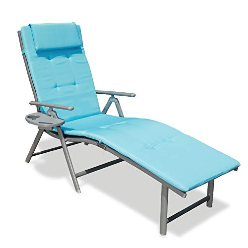 GOLDSUN Portable Aluminum Folding Beach Lounger Adjustable Cushioned Chaise Lounge Chair with Side Table for Outdoor Indoor Patio Beach Porch Swimming Pool (Single with Blue Cushion) (Outside Lounge)