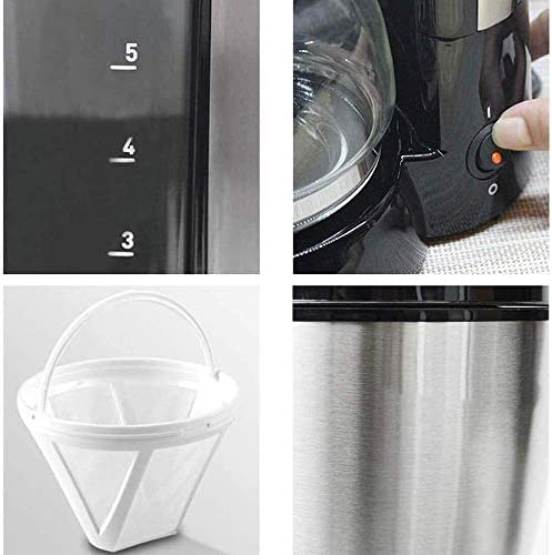 GUOXY Hine À Café Filtre, Goutte À Goutte 650Ml Cafetière, Anti-Goutte Conception Détachable Filtre Chaud 0.65L Conserver Cafetières 600W Moulin