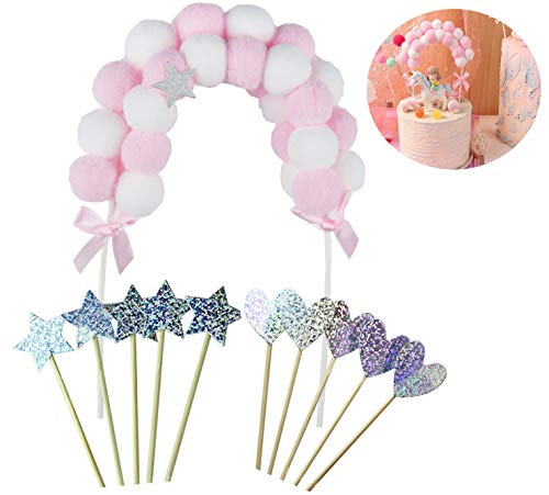 - NPLUX Colorful Star Cupcake Toppers,Romantic Rainbow Ball Arch and Glittering Stars and Heart-Shaped for Baby Shower Cake Decoration Birthday Wedding Party (Pink)