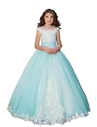 Lilis Flower Girl's Ball Gown Wedding Dress Lace Applique Cap Sleeves Floor Length Princess Dress for Kids