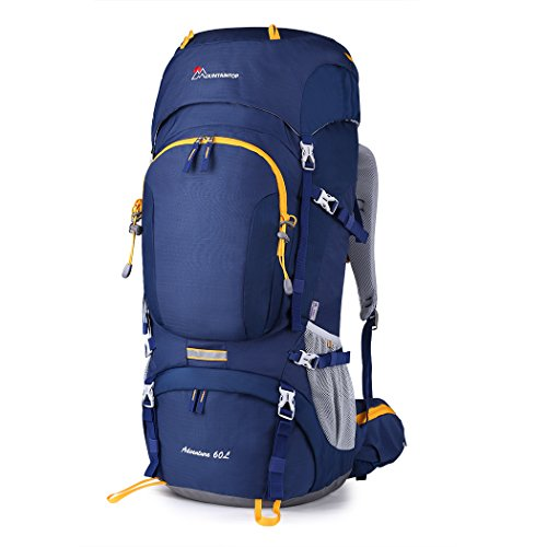 - Mountaintop 60L Internal Frame Backpack Hiking Backpacking Packs with Rain Cover YKK zipper buckle-M6012