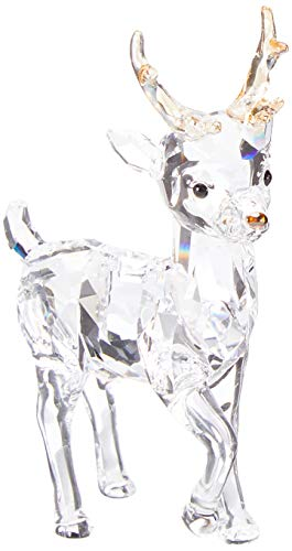 Swarovski Crystal Christmas Figurines - Swarovski Santa's Reindeer, Clear Crystal Christmas Décor,