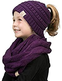 K1-BT2-40 Kids Beanie & Scarf Bundle (MESSY BUN): Purple