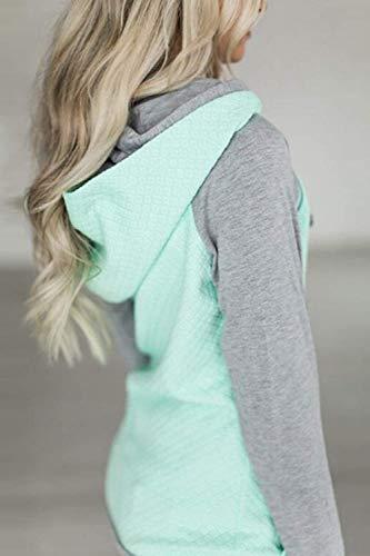 Vino Con Size Casual Fuweiencore colore Autunno Cotton Medium Verde Felpa Colorblock Cappuccio Donna Plus Dimensione Rosso SxPPqRgw50