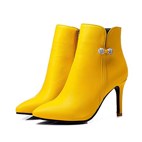 BalaMasa Womens Ankle-High Beaded Pointed-Toe Urethane Boots ABL10629 Yellow fKV2C