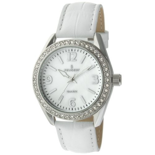 Peugeot Women's Silver-Tone Swarovski Crystal Accented Mother of Pearl Pink Leather Strap Watch 3006PK